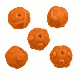 Lampwork Swirl Pattern Matte Orange Glass Beads 17mm PK5
