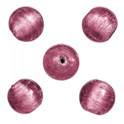 Round Silver Lined Handmade Glass Beads Pink 13mm PK5