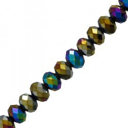 10mm Faceted Crystal Rondelles Rainbow Metallic Iris 8""