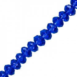 "10x8mm Faceted Crystal Rondelle Beads Blue 8"" Strand"