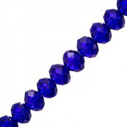 "Faceted Crystal Rondelle Beads Dk Blue 8x12mm 8"" Strand"