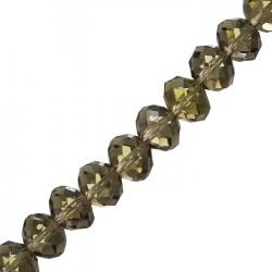 Faceted Crystal Rondelle Beads Grey 14x10mm 8