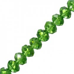 """Light Green Faceted Crystal Rondelle Beads 10x14mm 8"""" Strand"""