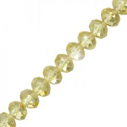 "10x8mm Faceted Crystal Glass Rondelle Beads Yellow 8"" Strand"