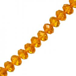 "Orange 10x8mm Faceted Crystal Glass Rondelle Beads 8"" Strand"