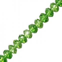 10x8mm Faceted Crystal Glass Rondelle Beads Lt Green 8