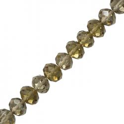 Grey Faceted Crystal Rondelle Beads 12x8mm (8