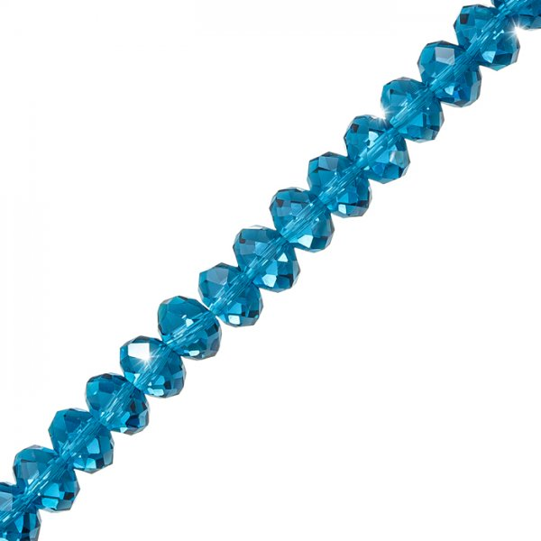"""Faceted Crystal Rondelles (10x6mm) Teal Glass Beads 8"""" Strand"""