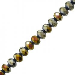 """Metallic Gold AB Faceted Crystal Rondelles (10x8mm) 8"""" Strand"""