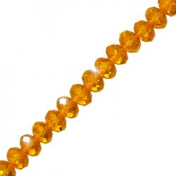 "Orange Faceted Crystal Rondelle Beads 10x7mm 8"" Strand"