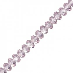 "Light Pink (10x7mm) Faceted Crystal Rondelle Beads 8"" Strand"