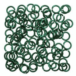 Aluminium Chain Maille 5mm Jump Rings 1.2mm Green PK100