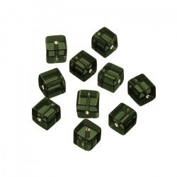 Small Transparent Dark Grey Cube Glass Beads 8mm PK10