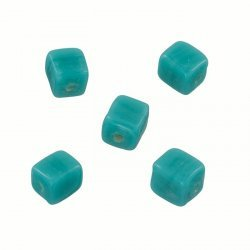 Handmade 7x9mm Opaque Turquoise Cuboid Glass Beads PK5