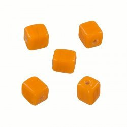 Handmade 7x9mm Opaque Orange Cuboid Glass Beads (PK5)
