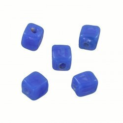 Handmade 7x9mm Shiny Opaque Blue Cuboid Glass Beads PK5