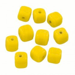 Shiny Opaque Yellow 8mm Handmade Cube Glass Beads PK10
