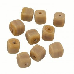 Handmade Cube Glass Bead Shiny Opaque Lt Brown 8mm PK10