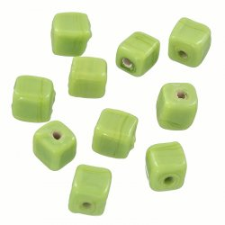 Handmade 8mm Cube Glass Beads Shiny Opaque Lt Green PK10