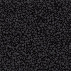 Toho Treasure 11/0 Opaque Frosted Jet Seed Beads 7.8g