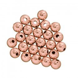 Rose Gold Plated Plain 4mm Round Metal Spacer Bead PK25