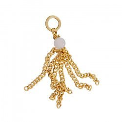 40mm Chain Tassel With 4mm Rose Quartz Bead Gold Plated