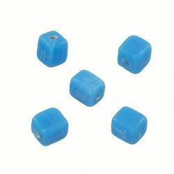 Shiny Opaque Lt Blue 7mm Glass Cube Beads 2mm Hole PK5