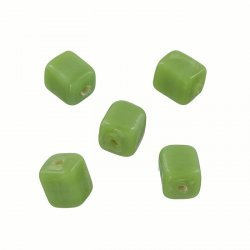 Shiny Opaque Green 7mm Glass Cube Beads 2mm Hole (PK5)