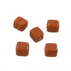 Shiny 7mm Opaque Brown Glass Cube Beads 2mm Hole (PK5)