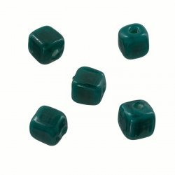 Opaque Dark Green Shiny 7mm Glass Cube Bead 2mm Hole PK5