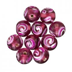 Trans. Pink Swirl Pattern Round Glass Beads 10mm PK10