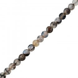 "6mm Dragon Veins Agate Round Faceted Beads 14.5"" Strand"