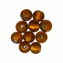 Silver Lined 7mm Round Glass Beads Amber/Pink Pack of 10
