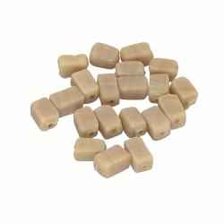 Opaque Beige Handmade 6x4mm Cuboid Glass Beads (PK20)