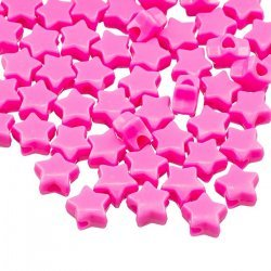 Opaque Pink Acrylic Star Spacer/Pony Beads 12mm (PK50)