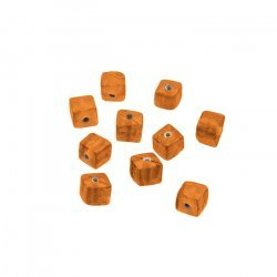 Shiny Plain 6mm Opaque Orange Glass Cube Beads (PK10)