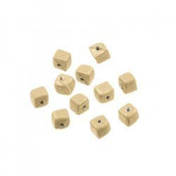 Opaque Beige Shiny Plain 6mm Glass Cube Beads Pack of 10