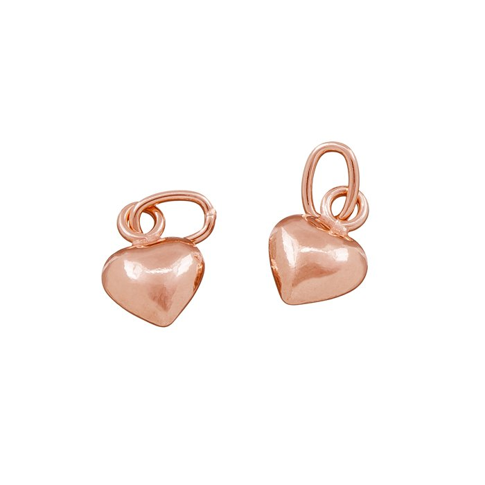 Rose Gold Plated Flat Heart Charm With Bail 9x6mm Pack of 2 R18//8