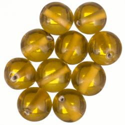 14mm Handmade Transparent Amber Round Glass Beads PK10