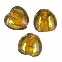 Glass Heart Beads Silver Lined Amber (20mm) Pack of 3