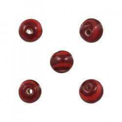 Red Striped Pattern Small Round Glass Beads 8mm (PK5)