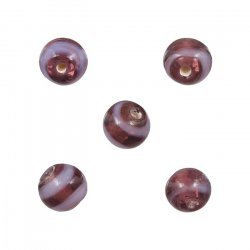 Purple and Lilac Striped Round Glass Beads 8mm (PK5)