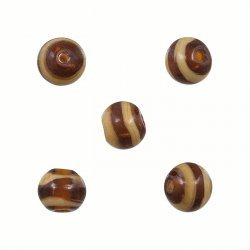 Brown and Beige Striped Round Glass Beads 8mm (PK5)