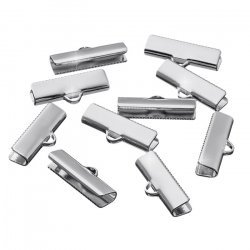 Silver Plated Flat 19x7.5mm Crimp End Ribbon Clamps PK10