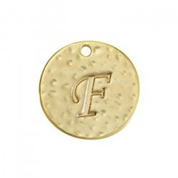 Letter 'F' Disc Charm Pendant 15mm Matte Gold Plated PK1