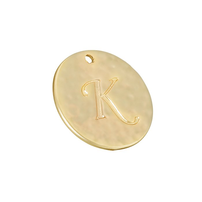Letter /'K/' Disc Charm Pendant 15mm Matte Gold Plated Pack of 1 R53//9