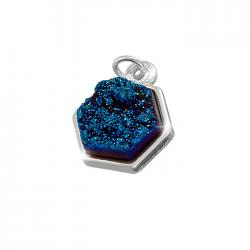 10mm Silver Plated Dark Blue Druzy Hexagon Pendant Charm