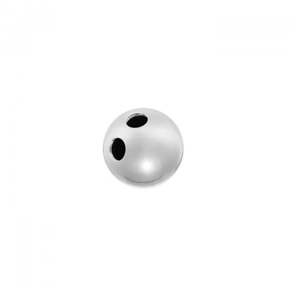Sterling Silver 925 2 Hole Ball Button Bead 7mm (PK1)