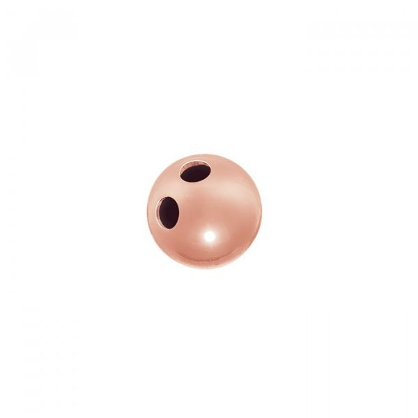 Rose Gold Vermeil 2 Hole Ball Button Bead 7mm Pack of 1