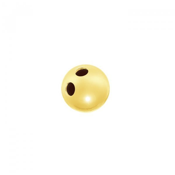 Gold Vermeil Two Hole Ball Button Bead 7mm (Pack of 1)